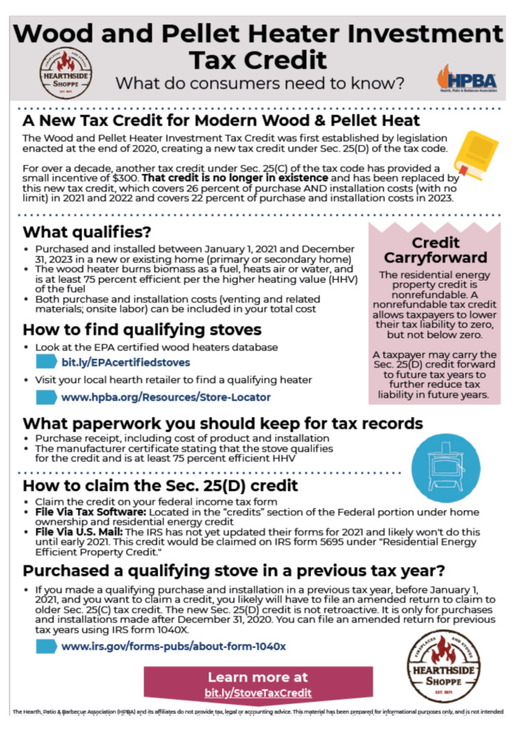 NEW Wood and Pellet Heater Investment Tax Credit (ITC)